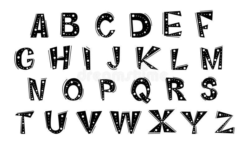 Ställ in av gladlynta bokstäver av det engelska alfabetet royaltyfri illustrationer