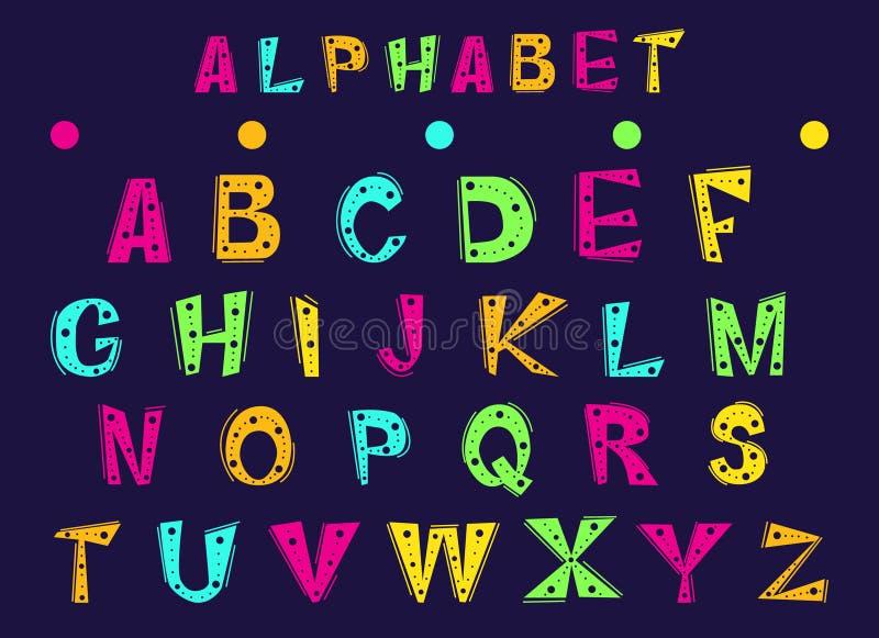 Ställ in av gladlynta bokstäver av det engelska alfabetet vektor illustrationer