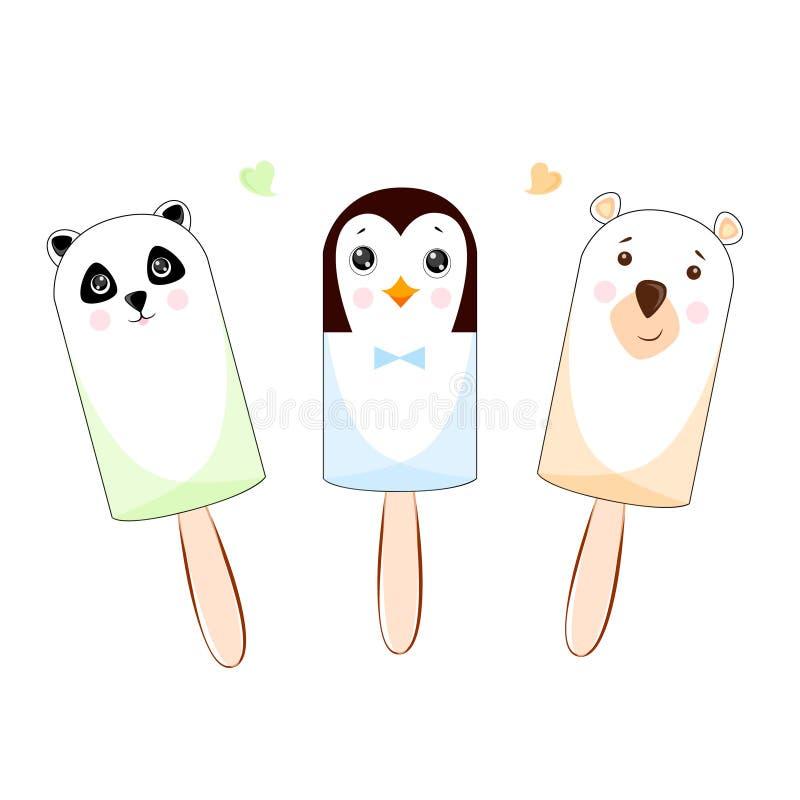 Ställ in av glass på roliga små djur för en pinne panda, björn och pingvin royaltyfri illustrationer