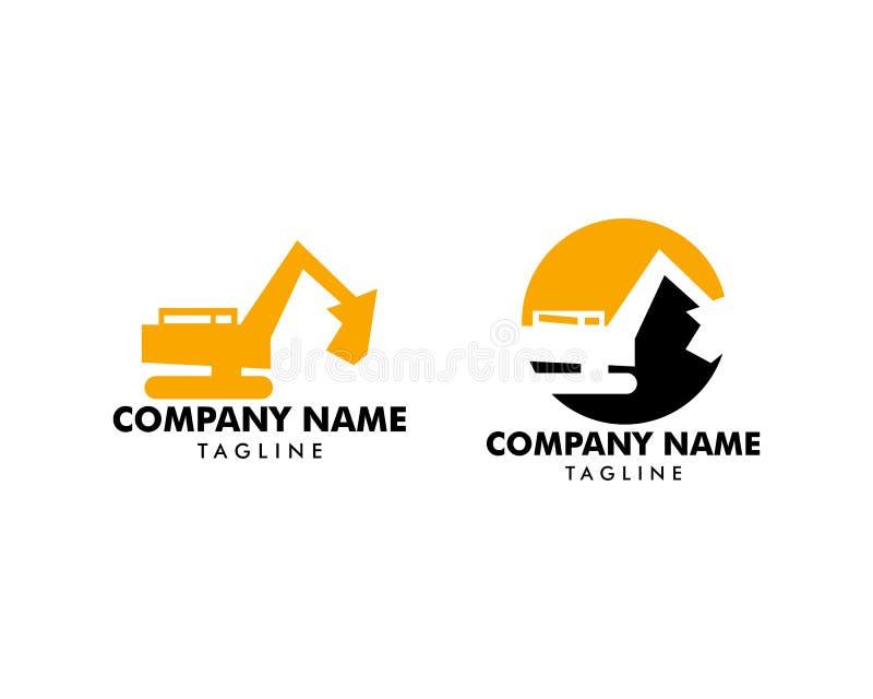 St?ll in av gr?vskopan Vector Logo Template, logoen f?r tung utrustning, konstruktion som ?r industriell royaltyfri illustrationer