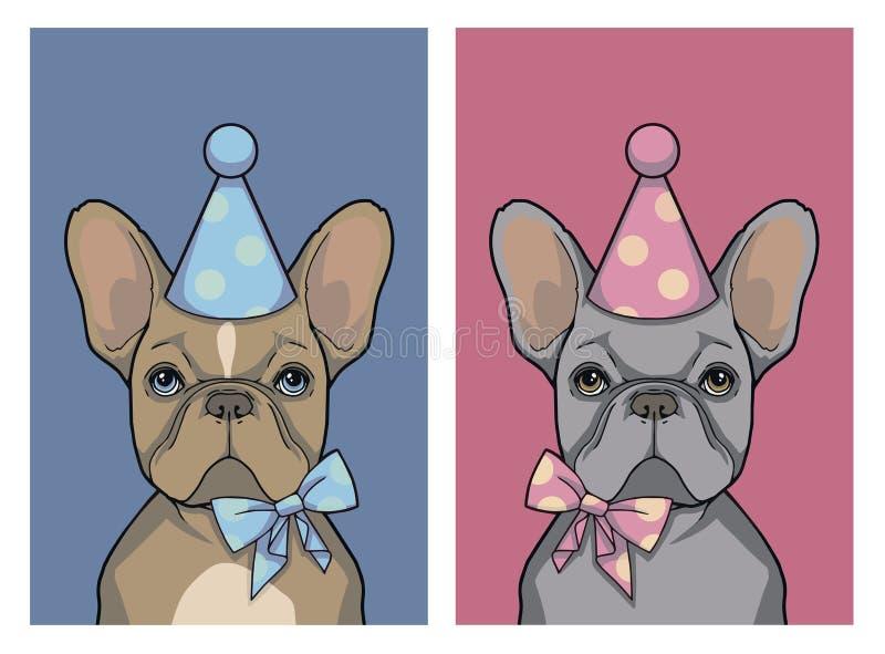 Ställ in av grå flicka för födelsedag och den bruna hunden för fransk bulldogg för pojke med den rosa och blåa partihatten och ba stock illustrationer