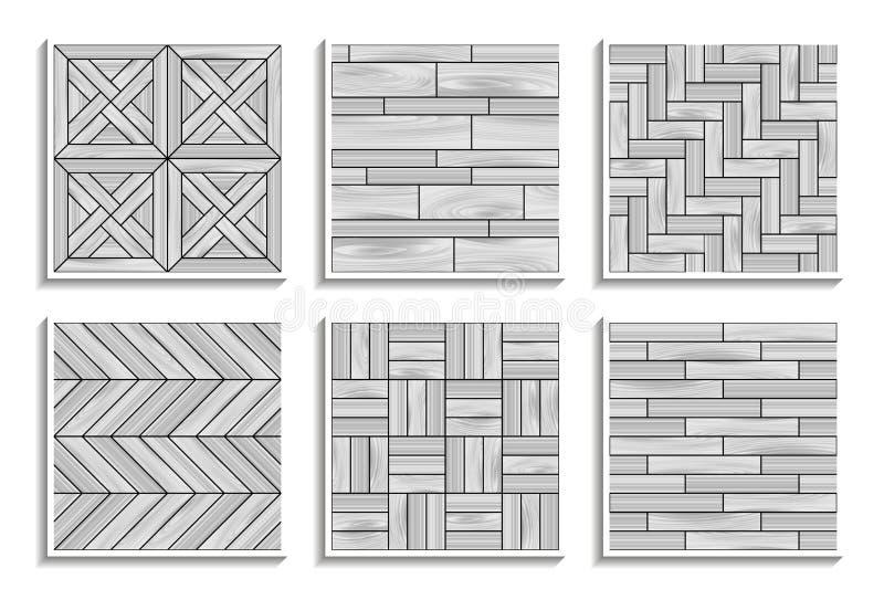 Ställ in av gråa sömlösa parketttexturer Svartvita modeller av trämaterial stock illustrationer