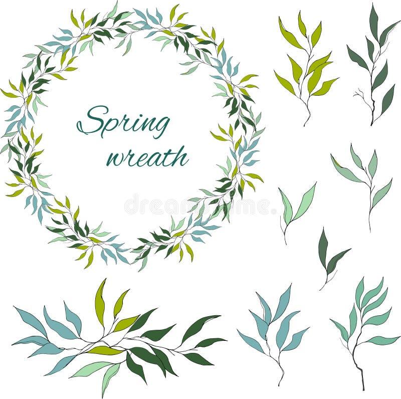 Ställ in av gröna blom- modeller, prydnader och vektorkransar av gröna olivgröna sidor och vektorer för garnering Begreppet av vå royaltyfri illustrationer