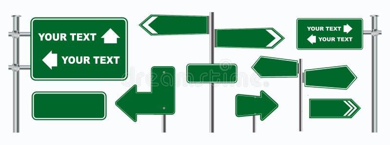 Ställ in av gröna vägmärken som isoleras, för broschyr, reklamblad, räkningsbok och annan utskrivande design vektor illustrationer