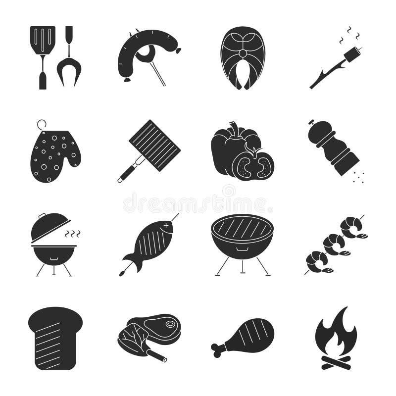Ställ in av grillfesten släkta vektorlinjen symboler royaltyfri illustrationer