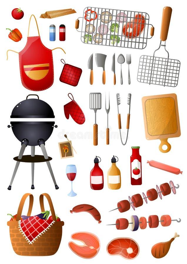 Ställ in av grillfesthjälpmedel och utrustning för fri tid för familj vektor illustrationer