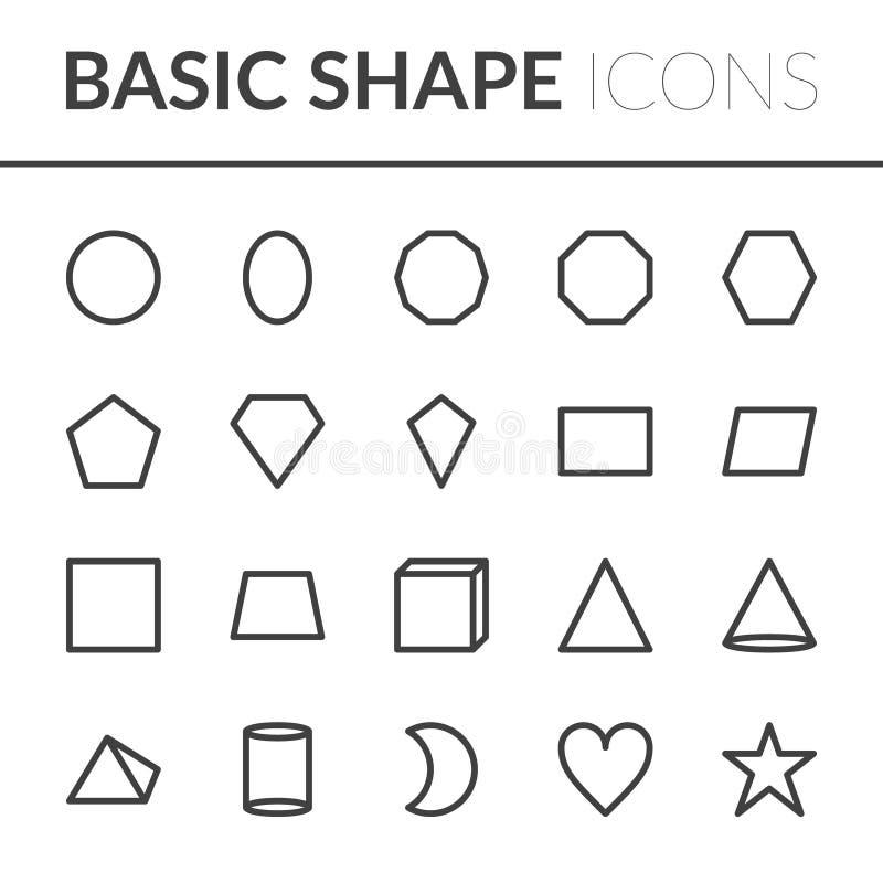 Ställ in av grundläggande Shape symboler Linje formvektorillustration vektor illustrationer
