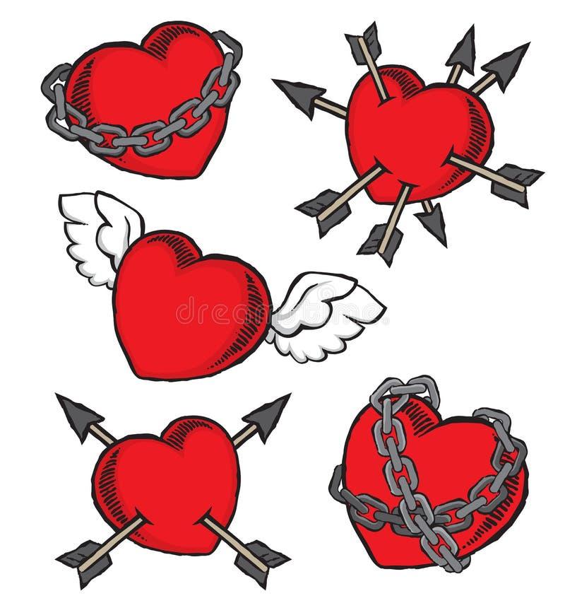 Ställ in av grungehjärtor i valentins ett dagtema royaltyfri illustrationer
