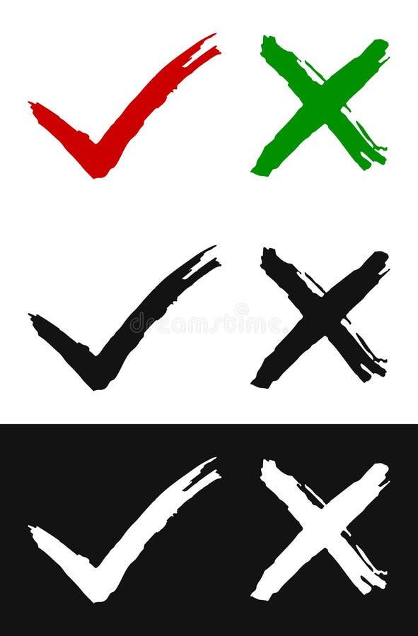 Ställ in av grungekontrollfläckar på vit bakgrund vektor illustrationer