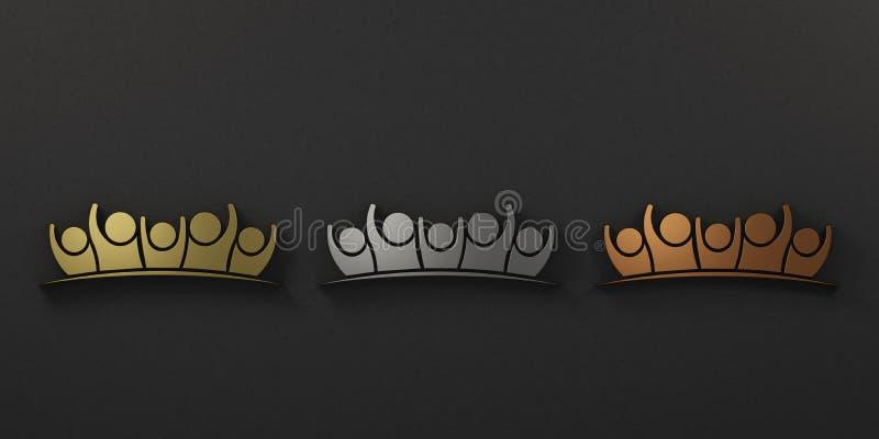 Ställ in av grupp människor Guld silver bronser illustrationen 3d framf?r stock illustrationer