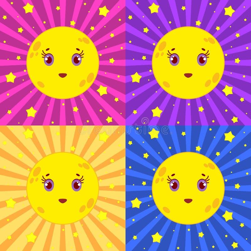 Ställ in av gula månar för tecknade filmen som ler på en kulör randig bakgrund med stjärnor stock illustrationer