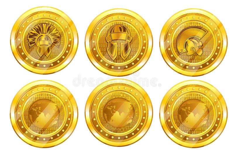 Ställ in av guld- crypto mynt, bitcoin- eller jättebaksida och den främre sidan Isolerad vektorillustration royaltyfri illustrationer