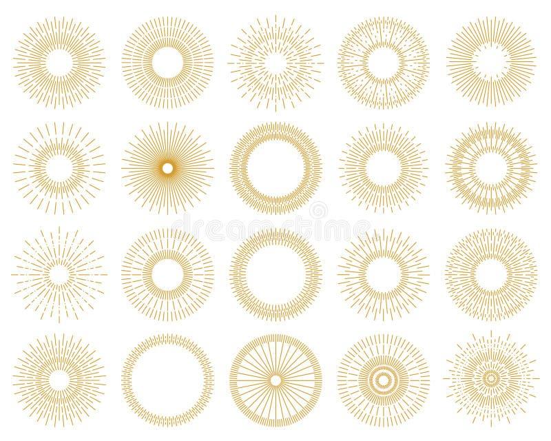 Ställ in av guld- färg för sunburst designbeståndsdelar som isoleras på backgroun stock illustrationer