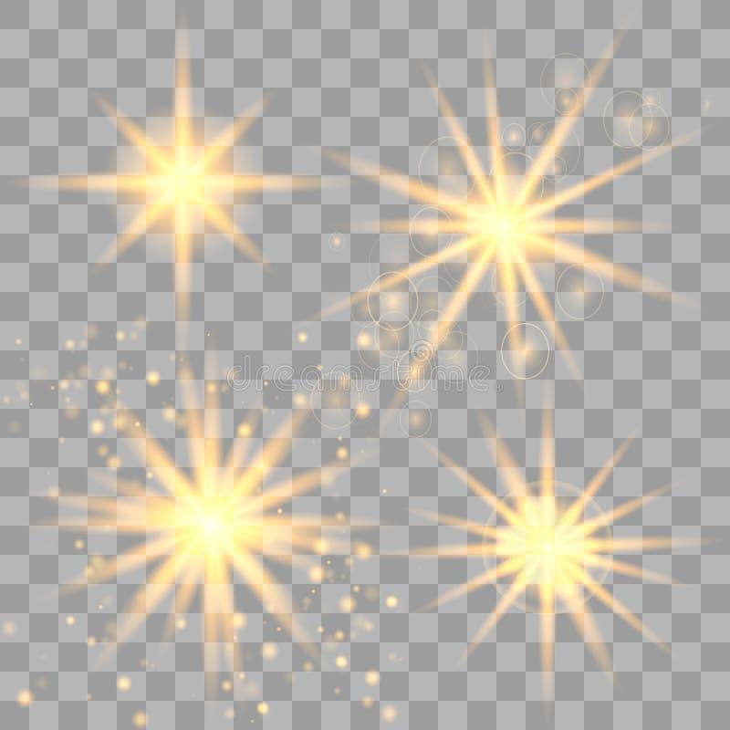 Ställ in av guld- glödande ljus stock illustrationer