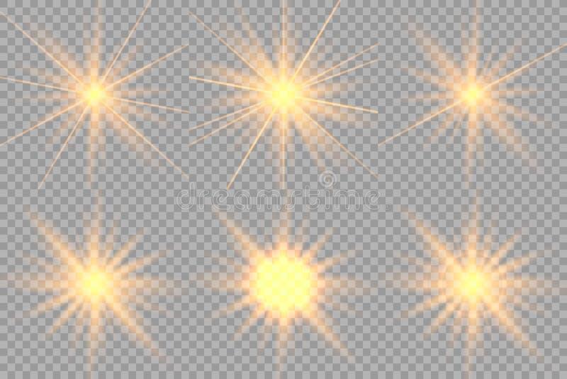 Ställ in av guld- glödande ljus royaltyfri illustrationer