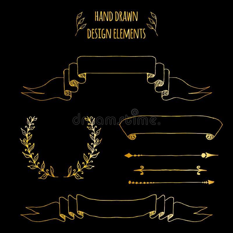 Ställ in av guld- handdrawn tappningbeståndsdelar Band pilar, lagerkrans, sidadeviders Vektorillustration för kula royaltyfri illustrationer