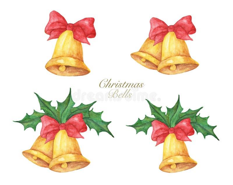 Ställ in av guld- julklockor med röda pilbågar och järnek f?r flygillustration f?r n?bb dekorativ bild dess paper stycksvalavatte royaltyfri illustrationer