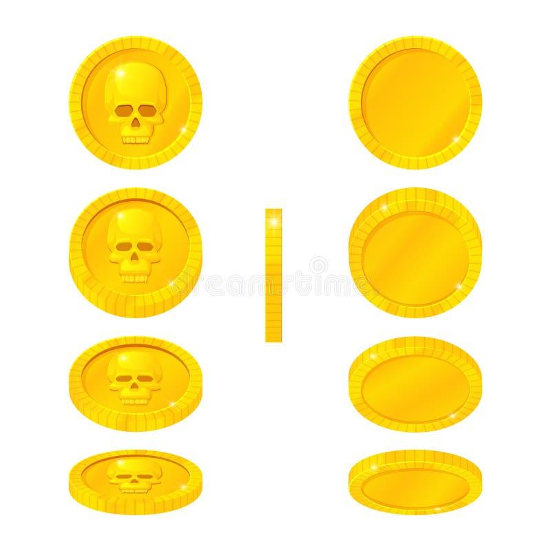 Ställ in av guld- mynt med den mänskliga skallen i olika positioner Vektortecknad filmsymboler Rotera flyg som faller royaltyfri illustrationer