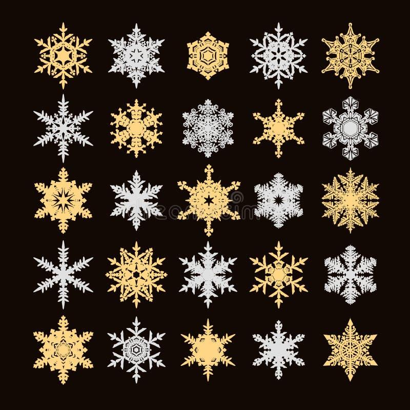 Ställ in av guld- och försilvra snöflingakonturn som isoleras på svart bakgrund också vektor för coreldrawillustration stock illustrationer