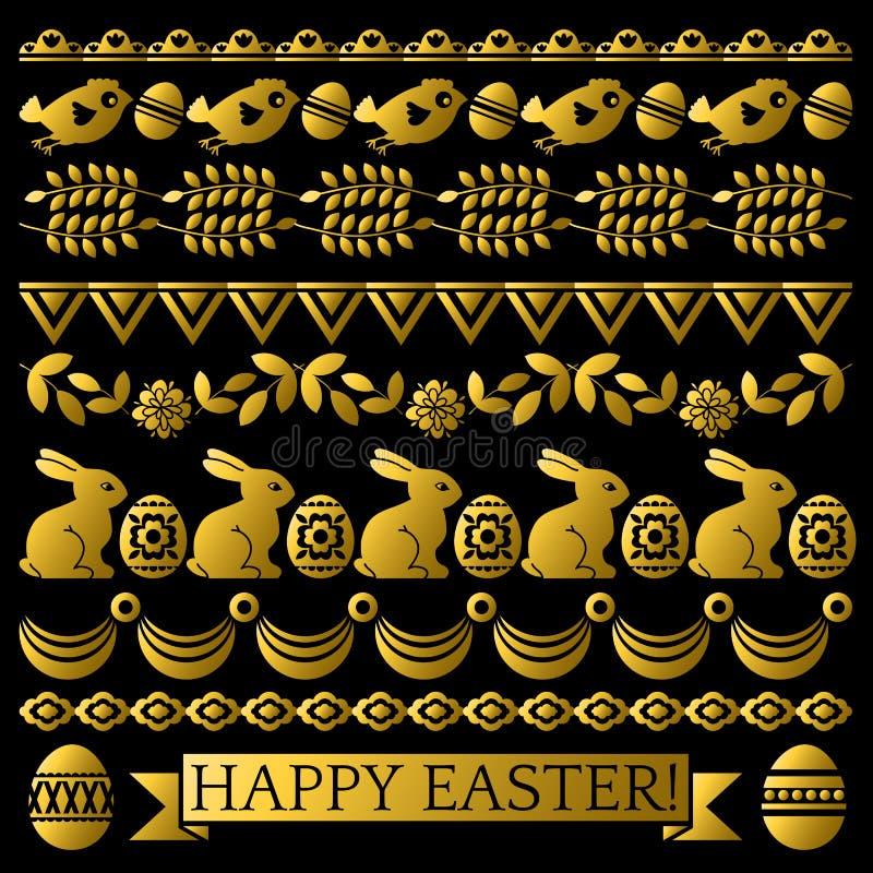 Ställ in av guld- påsk snör åt pappers- med blomman, kaniner och ägg Planlägger repeatable ferier för påsk Kan användas för tyg, stock illustrationer