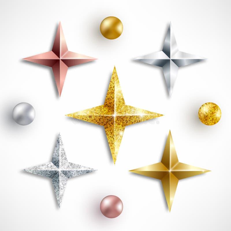Ställ in av guld- realistiska stjärnor och bollar stock illustrationer