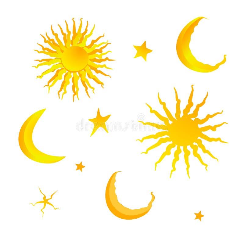 Ställ in av guld- symboler och prydnader för kort sol, månad, måne och stjärnor stock illustrationer