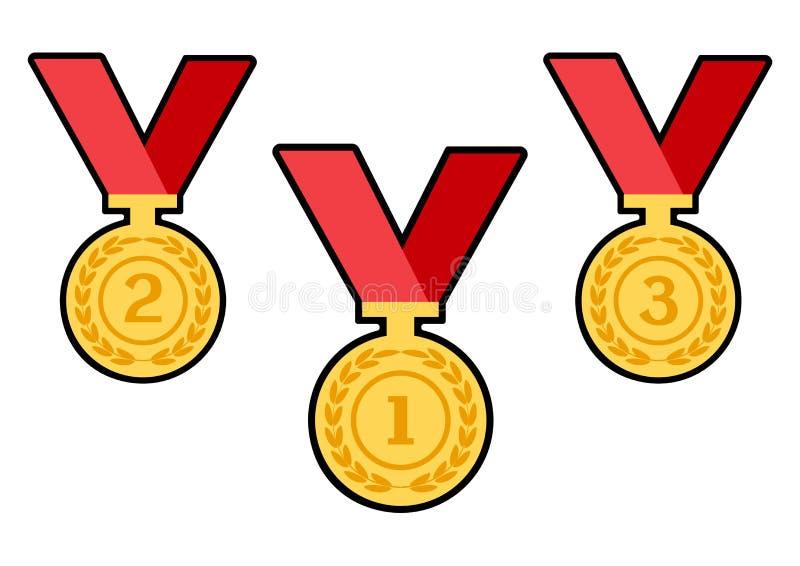St?ll in av guld- utm?rkelsemedaljer med r?da band vektor royaltyfri illustrationer