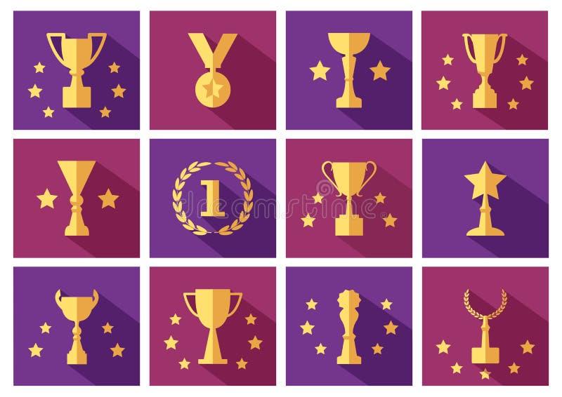 Ställ in av guld- utmärkelser och koppsymboler med stjärnor vektor vektor illustrationer