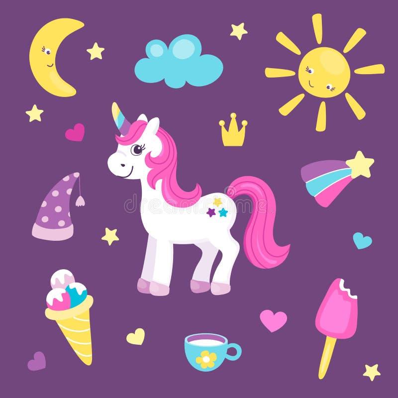 Ställ in av gullig enhörning eller härlig häst med olika gulliga objekt Sol och måne, regnbåge och glass Nätt ponny för vektor illustrationer