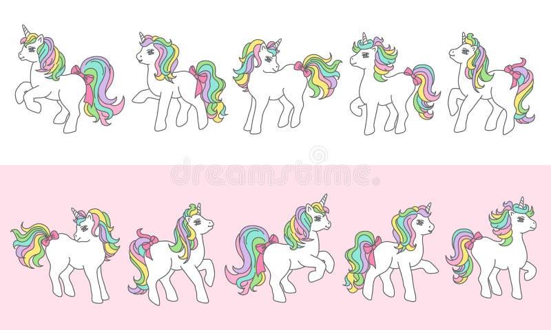 Ställ in av gullig enhörning i olikt poserar Gr?ns eller ram royaltyfri illustrationer