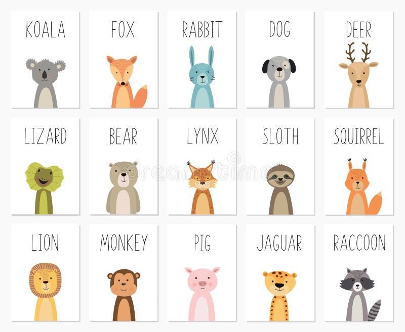 Ställ in av gulliga djur affischen, mallen, kort, björnen, kanin, koalan, räven, hjort, svinet, ödlan, lodjuret, ekorren, tvättbj vektor illustrationer