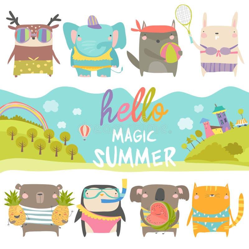 Ställ in av gulliga djur med sommartema på vit bakgrund royaltyfri illustrationer