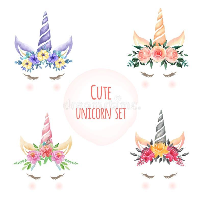 Ställ in av gulliga enhörningblommor för vattenfärgen royaltyfri illustrationer