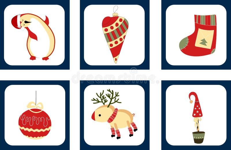 Ställ in av gulliga julkort med julbeståndsdelar Pingvin, julgran, gåva och julbollar stock illustrationer