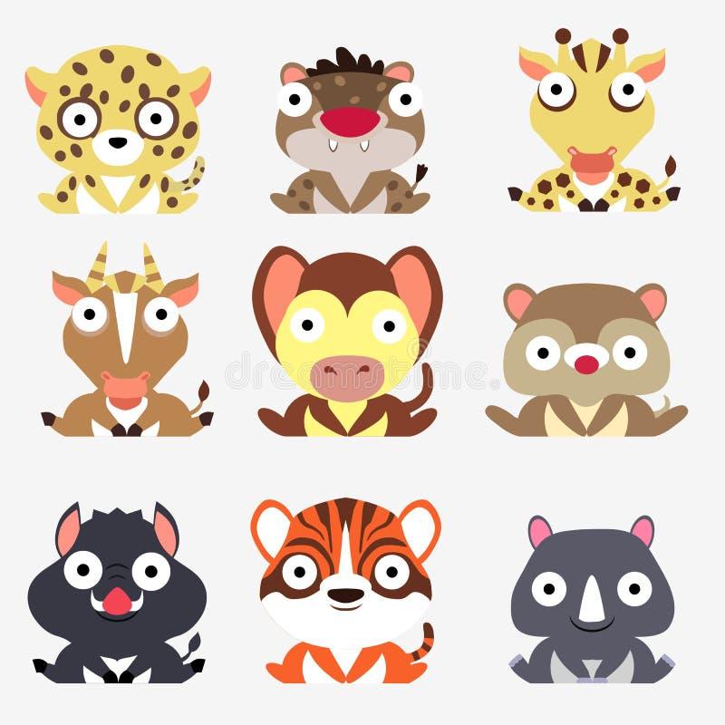 Ställ in av gulliga logoer med djur Leopard, hyena, giraff, antilop, apa, mungor, galt, tiger och noshörning som isoleras på vit  royaltyfri illustrationer