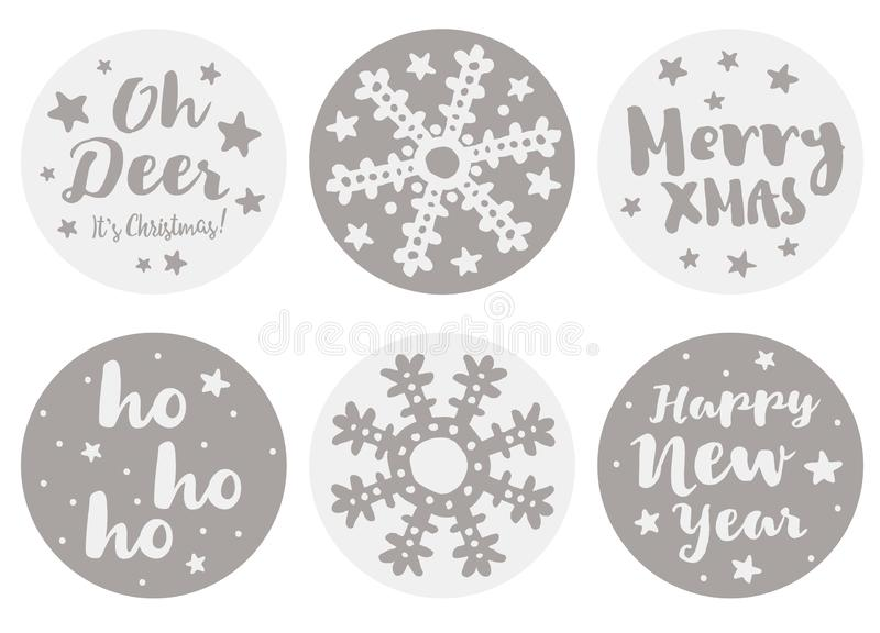 Ställ in av 6 gulliga runda Shape jul och vektorklistermärkear för lyckligt nytt år vektor illustrationer