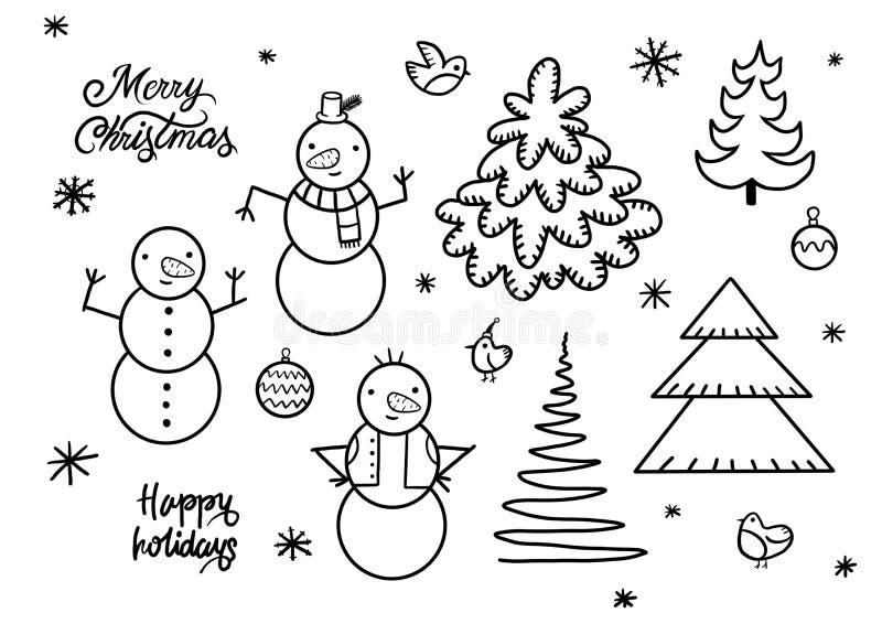 Ställ in av gulliga skämtsamma snögubbear Beståndsdelar från julsamlingen av tecken Lyckligt nytt år glad Xmas-designbeståndsdel stock illustrationer