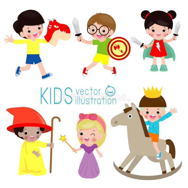 Ställ in av gulliga ungar som bär dräkter som isoleras på vit bakgrund, små barn i deras sagadräkter, ungelek i dräkt vektor illustrationer