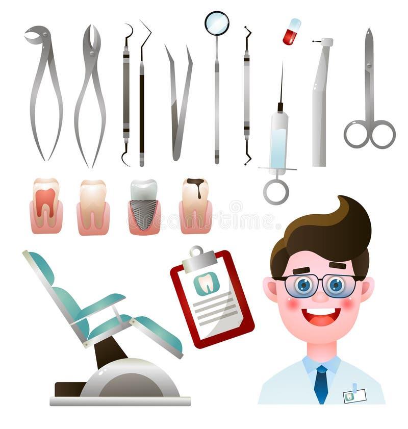 Ställ in av gulligt och att le tandläkaren med hans moderna stålhjälpmedel royaltyfri illustrationer