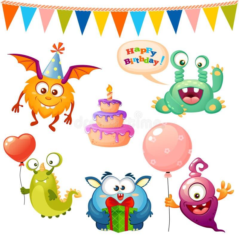 Ställ in av gulligt tecknad filmmonster Monster för lycklig födelsedag festar royaltyfri illustrationer