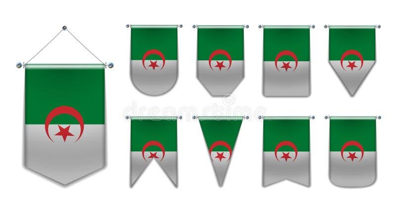 Ställ in av hängande flaggor av ALGERIET med textiltextur M?ngfaldformer av nationsflaggalandet vertikalt stock illustrationer