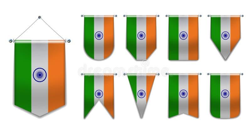 Ställ in av hängande flaggor av INDIEN med textiltextur Mångfaldformer av nationsflaggalandet Vertikal mallstandert för vektor illustrationer