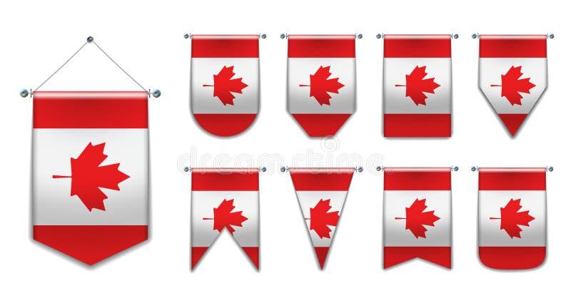 Ställ in av hängande flaggor av KANADA med textiltextur Mångfaldformer av nationsflaggalandet Vertikal mallstandert vektor illustrationer