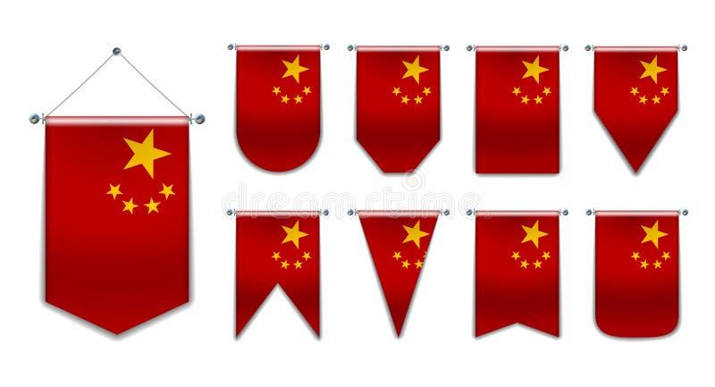 Ställ in av hängande flaggor av Kina med textiltextur M?ngfaldformer av nationsflaggalandet Vertikal mall vektor illustrationer