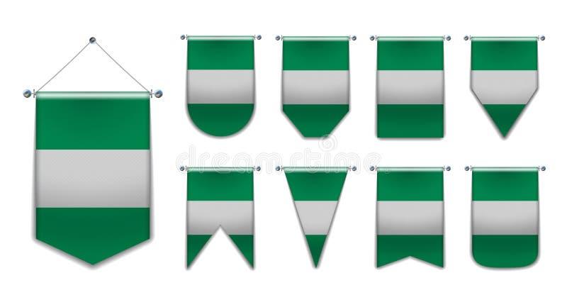 Ställ in av hängande flaggor av Nigeria med textiltextur M?ngfaldformer av nationsflaggalandet vertikalt stock illustrationer