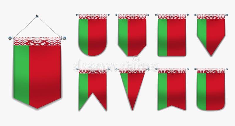 Ställ in av hängande flaggor av VITRYSSLAND med textiltextur Mångfaldformer av nationsflaggalandet Vertikal mallstandert royaltyfri illustrationer