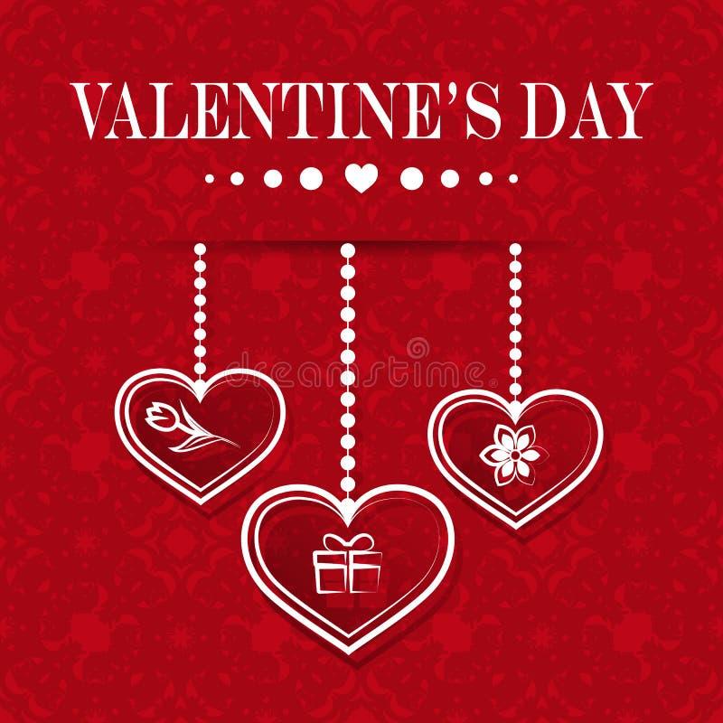 Ställ in av hängande hjärtor med symboler liksom gåvan och blommor på en röd bakgrund lycklig s valentin för dag stock illustrationer