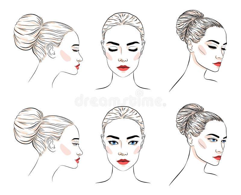 Ställ in av härlig kvinna med bullefrisyren och elegant makeup stock illustrationer