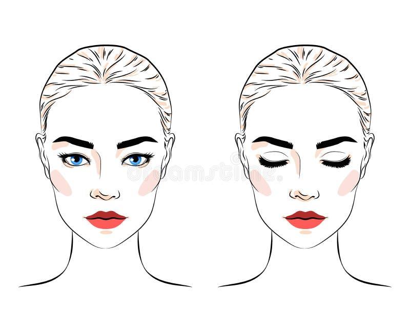 Ställ in av härlig kvinna med bullefrisyren och elegant makeup vektor illustrationer