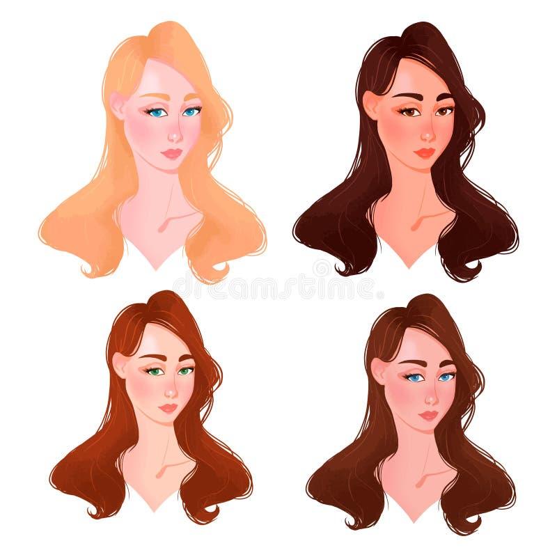 Ställ in av härlig typ för kvinnaframsidafärg vektor illustrationer
